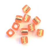 Pkt of 10 FLORESANT ORANGE GOLD SQUARE BEADS WITH SILVER CENTRES