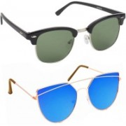Elgator Over-sized Sunglasses(Green, Blue)