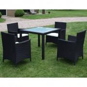vidaXL Set mobilier de exterior, 9 piese, poliratan, negru