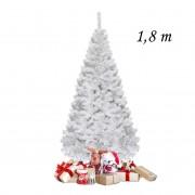 Costway 1 8m Árbol de Navidad Artificial con Base Metálica Material PVC Hogar Abeto Blanco
