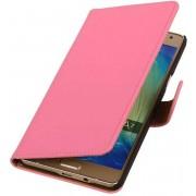 Mobieletelefoonhoesje.nl - Samsung Galaxy A7 2015 A700F Hoesje Effen Bookstyle Roze