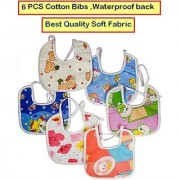 Feeding Baby Bib Knot Style (Multicolor Random Design) Baby/ Infant Feeding Bibs with Waterproof Back 6 PCS CODEEp-9040
