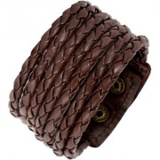 The Jewelbox Rope Design Funky 100 Genuine Handcrafted Chocolate Brown Adjustable Leather Bracelet Boys