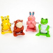Bits and Pieces - Set of Four (4) Wind Up Flipping Animals - Rabbit, Monkey, Cat and Frog Do Flips