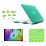 ENKAY 4 in 1 Frosted Hard Shell Plastic Protective Case with Screen Protector & Keyboard Guard & Anti-dust Plugs for MacBook Pro 15.4inch(Green)