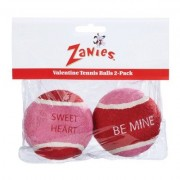 Zanies Valentine Dog Tennis Ball 2 PACK (PINK/RED)