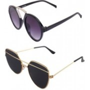 Daller Round, Retro Square Sunglasses(Black, Black)