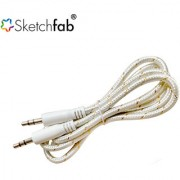 Sketchfab 3.5mm Aux Cable Nylon Braided Audio Cable for Car Stereos Smartphones iPod and More - White