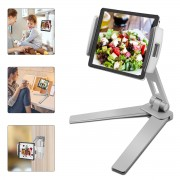360 Degrees Rotating Aluminum Alloy Kitchen Tablet Phone Stand Holder - Silver