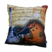 Almofada Impressão Digital Guitarras Marrom 42x42cm Uniart