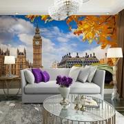 hwhz London Big Ben Photo Wall Paper Mural Home Bar Decor Papeles De Pared Pegatinas Sala De Estar Dormitorio Papel Pintado De Seda-350X250Cm