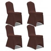 vidaXL Naťahovací návlek na stoličku, 4 ks, hnedý