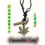 Antique Vintage Men's Jewellery Adjustable Pendant Necklace Men unisex Long Brown Leather Chain Cannabis Leaf Style CodeOg-1346