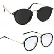 Lee Topper Round, Retro Square Sunglasses(Black)