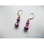 Cercei aurii din agat crazy lace violet şi hematit