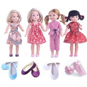 CUTE Clothes for American Girl Dolls:- 4set+4shoes for 14.5inch Wellie Wisher Dolls by MSDS