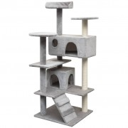 vidaXL Ansamblu pentru pisici cu funie de sisal, 125 cm, gri