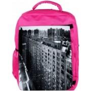 Snoogg Eco Friendly Canvas Manhattan New York City Designer Backpack Rucksack School Travel Unisex Casual Canvas Bag Bookbag Satchel 5 L Backpack(Pink)