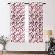 "Interestlee Cortinas opacas con diseño de corazones y pinceles, texto en inglés ""I love you for living and bedroom room patinete"", 2 paneles, 213,4 x 213,4 cm, color rosa, rojo y blanco"