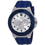 GUESS Blue Silicone Round Dial Quartz Watch For Men (W0674G4)