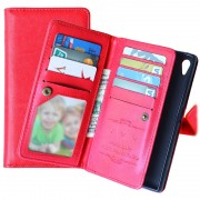 Sony Xperia Z5, Xperia Z5 Dual Multifunctional Wallet Case - Red