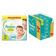 Pampers Premium Protection Luiers Maat 2 Maandbox en 12x Pampers Babydoekjes Fresh Clean Pakket