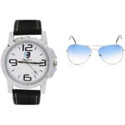 CALIBRO White-Black Men's watch Skyblue Aviator Sunglass
