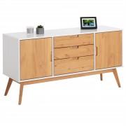 IDIMEX Anrichte TIVOLI 2 Türen 3 Schubladen skandinavisches Design, weiß/gebeizt