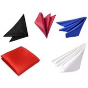 Voici France Black Red Royal Blue Maroon and White satin Solid Pocket Square Combo Pack of 5