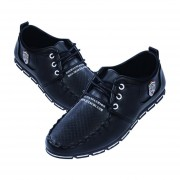 Zapatos De Ecocuero De Encaje Para Hombre - Negro