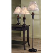 3 pc. traditional dark brown finish with gold plated fabric bell shades 2 table lamps and 1 floor lamp