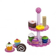 Vortigern #51024 - Wooden Toy Tea Party Set of Cupcakes with Pink Cake Stand and Two Plates