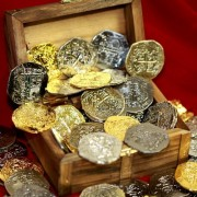 Large Metal Pirate Coins and Wood Treasure Chest - 40 Gold and Silver Doubloon Replicas