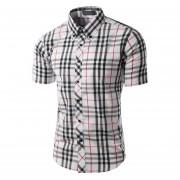 Los Hombres Slim Fit Abajo Contraste Plaid Camiseta De Manga Corta (blanco)