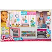 Barbie Bucatarie cu papusa FRH73 set de joaca