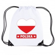 Bellatio Decorations Polen hart vlag nylon rugzak wit