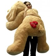 Valentines Day 2016 Hugs and Kisses Giant Valentine Puppy Dog Cream Color Five Feet Tall Squishy Soft with Romantic Heart on Butt Embroidered with Hugs and Kisses Valentines Day 2016