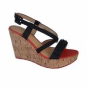 Sandale cu platforma pepit si bareta cu tinte negre D and J Exclusive Negru 39 EU