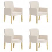 vidaXL Chaises de salle à manger 4 pcs Crème Tissu