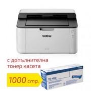Лазерен принтер Brother HL-1110E в комплект с оригинална тонер касета TN-1030, монохромен, 2400 х 600 dpi, 20стр/мин, USB 2.0, A4, 2+1 г.