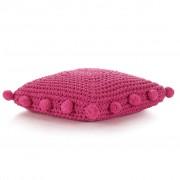 vidaXL Pernă de podea tricotată, roz, 50 x 50 cm, bumbac, pătrat