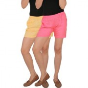 Culture the Dignity Women's Solid Rayon Shorts With Side Pockets Combo of 2 - Cream - Baby Pink - C_RSHT_CP2 - Pack of 2 - Free Size