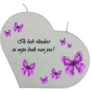 Valentijn hartkaars groot - Ik heb vlinders in mijn buik van jou