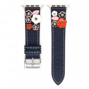 Flower Decor Genuine Leather Watch Strap Wrist Band Replacement for Apple Watch Series 4/5 44mm / Series 1/2/3 42mm - Dark Blue