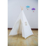 RONGFA Kid's Foldable Teepee Play Tent, One Four Ploes Style, White by RONG FA