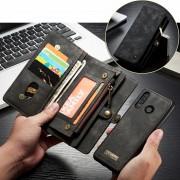CASEME 008 Series Multi-functional 2-in-1 Zipper Wallet Split Leather Case for Huawei P30 Lite - Grey