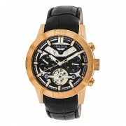 Heritor Automatic Hamilton Semi-Skeleton Leather-Band Watch - Rose Gold/Black HERHR4106