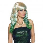 Geen Blond dames pruik met blauwe en groene lokken