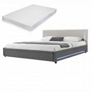 [my.bed] Elegantná manželská posteľ s LED osvetlením - matrac zo studenej HR peny - 180x200cm (Záhlavie: alcantara koženka sivobiela / Rám: textil sivá) - s roštom
