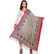 Swaron Cream and Red Colored Novelty Printed Bhagalpuri Silk Dupatta